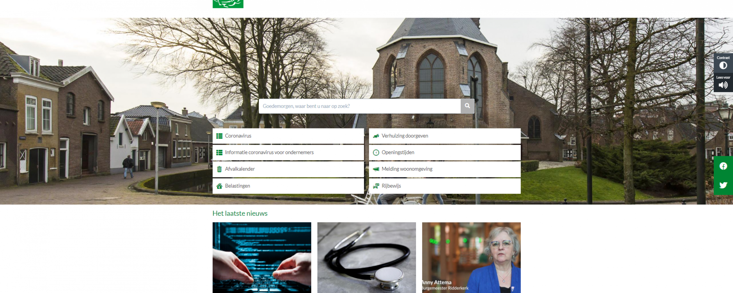 Printscreen homepage website gemeente Ridderkerk